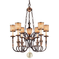 Metropolitan Terraza Villa 6 + 1 Light Chandelier in Terraza Villa Aged Patina w/ Gold Leaf Accents N6496-270 photo thumbnail