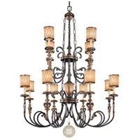 Terraza Villa 13 Light 54 inch Terraza Village Aged Patina/Gold Leaf Chandelier Ceiling Light