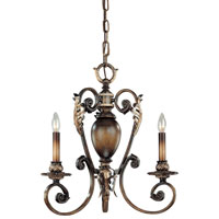 Metropolitan Veranda Crest 3 Light Chandelier in Aged Black Walnut w/Antique Silver Highlights N6501-242