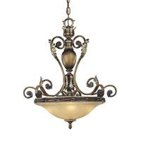 Metropolitan Veranda Crest 4 Light Chandelier in Aged Black Walnut w/Antique Silver Highlights N6503-242