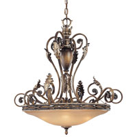 Metropolitan Veranda Crest 5 Light Chandelier in Aged Black Walnut w/Antique Silver Highlights  N6504-242