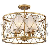 Victoria Park 4 Light 19 inch Elara Gold Semi-Flush Mount Ceiling Light