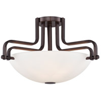 Industrial 3 Light 18 inch Industrial Bronze Semi-Flush Ceiling Light