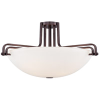 Industrial 4 Light 26 inch Industrial Bronze Semi-Flush Ceiling Light