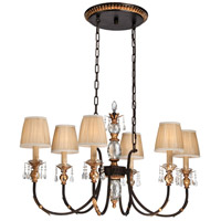 Bella Cristallo 6 Light 42 inch French Bronze with Gold Highlights Island Light Ceiling Light