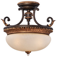 Bella Cristallo 3 Light 18 inch French Bronze with Gold Highlights Semi-Flush Mount Ceiling Light