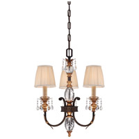 Bella Cristallo 3 Light 21 inch French Bronze/Gold Chandelier Ceiling Light