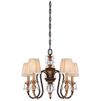 Bella Cristallo 5 Light 27 inch French Bronze/Gold Chandelier Ceiling Light