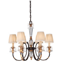 Bella Cristallo 6 Light 26 inch French Bronze with Gold Leaf Highlights Chandelier Ceiling Light