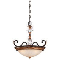 Metropolitan Bella Cristallo 3 Light Pendant in French Bronze with Gold Leaf Highlights N6647-258B
