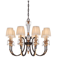 Bella Cristallo 8 Light 35 inch French Bronze/Gold Chandelier Ceiling Light