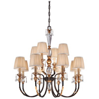 Bella Cristallo 12 Light 38 inch French Bronze/Gold Chandelier Ceiling Light