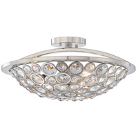 Magique 3 Light 18 inch Polished Nickel Semi Flush Mount Ceiling Light