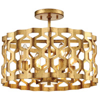Coronade 4 Light 16 inch Pandora Gold Leaf Semi-Flush Mount Ceiling Light, Convertible To Pendant