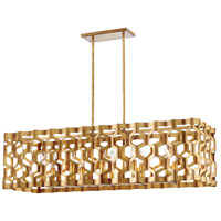 Coronade 10 Light 40 inch Pandora Gold Leaf Island Light Ceiling Light