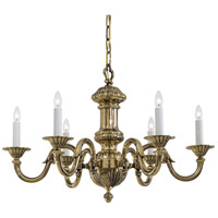 Signature 6 Light 30 inch Antique Brass Chandelier Ceiling Light