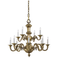 Signature 12 Light 31 inch Antique Brass Chandelier Ceiling Light