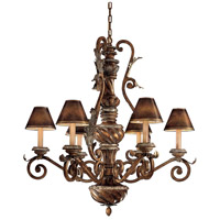 Metropolitan Verona 6 Light Chandelier in Antique Pecan with Silver Leaf Highlights N7056-300