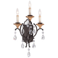 Metropolitan N7103-258B Cortona 3 Light 15 inch French Bronze with Gold Highlights Wall Sconce Wall Light
