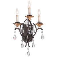 Metropolitan Cortona 3 Light Wall Sconce in French Bronze with Gold Highlights N7103-258B