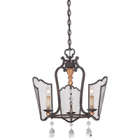 Metropolitan Cortona 3 Light Mini-Chandelier in French Bronze with Gold Highlights N7110-258B