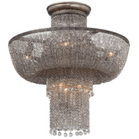 Shimmering Falls 7 Light 18 inch Antique Silver Semi Flush Mount Ceiling Light, Convertible To Pendant