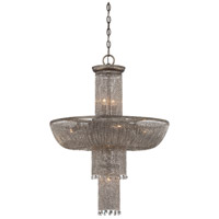 Shimmering Falls 12 Light 24 inch Antique Silver Pendant Ceiling Light
