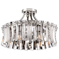 Elegance Royale 6 Light 20 inch Polished Nickel Semi-Flush Mount Ceiling Light