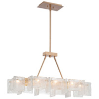 Metropolitan Arctic Frost 8 Light Island Light in Antique French Gold N7288-595