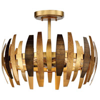 Manitou 5 Light 19 inch Ardor Gold Semi-Flush Mount Ceiling Light
