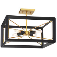 Sable Point 4 Light 17 inch Sand Black With Honey Gold Accents Semi-Flush Mount Ceiling Light
