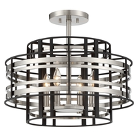 Preston 4 Light 20 inch Brushed Nickel W/ Sand Coal Semi Flush Ceiling Light