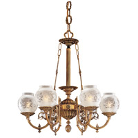 Signature 6 Light 27 inch Antique Classic Brass Chandelier Ceiling Light