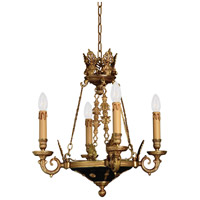 Signature 4 Light 19 inch Dore Gold w/ Black Accents Chandelier Ceiling Light