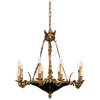 Signature 8 Light 30 inch Dore Gold w/ Black Accents Chandelier Ceiling Light