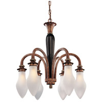 Metropolitan Signature 6 Light Chandelier in Mottled Bronze w/ Ebony Glass Center Column N9004