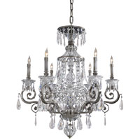 Crystal 6 Light 33 inch Steel Chandelier Ceiling Light