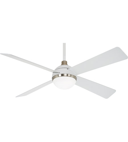 Minka Aire F623l Whf Bn Orb 54 Inch Flat White Brushed Nickel With Flat White Blades Ceiling Fan