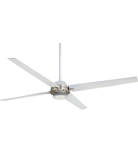 Minka Aire F726 Whf Bn Spectre 60 Inch Flat White Brushed Nickel