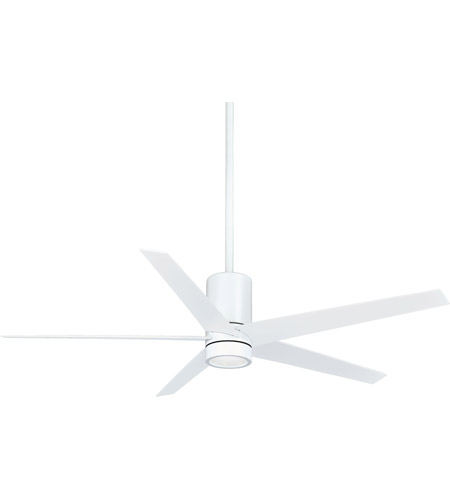 Charming Minka Aire F828 WHF Symbio 56 Inch Flat White Ceiling Fan In Etched Glass