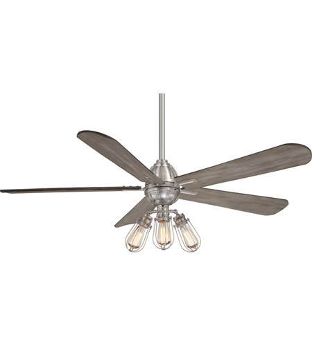 Minka-Aire F852L-BN Alva 56 inch Brushed Nickel with Seashore Grey Blades Ceiling Fan photo thumbnail