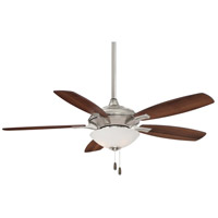 Hilo 52 inch Brushed Nickel with Dark Walnut/Med Maple Blades Ceiling Fan in Dark Maple/Dark Walnut, Frosted White Glass