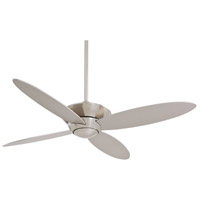 Zen 52 inch Brushed Nickel with Silver Blades Ceiling Fan in White Frosted