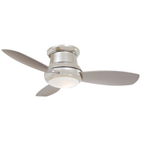 Concept II 44 inch Polished Nickel with Silver Blades Flush Mount Ceiling Fan