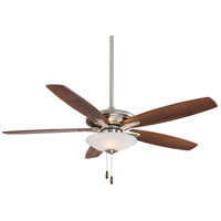 Mojo 52 inch Brushed Nickel with Medium Maple/Dark Walnut Blades Ceiling Fan in Dark Walnut / Medium Maple, Frosted White Glass