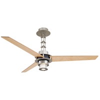 San Francisco 56 inch Brushed Steel/Chrome with Birdseye Maple Blades Ceiling Fan in Brushed Steel w/ Chrome, Frosted