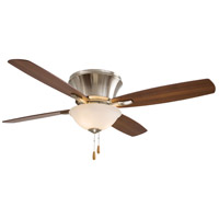Mojo 52 inch Brushed Nickel with Medium Maple/Dark Walnut Blades Ceiling Fan in Dark Maple/Dark Walnut, Frosted White Glass, Flush Mount