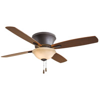 Minka-Aire F533-ORB Mojo II 52 inch Oil Rubbed Bronze with Reversible Medium Maple/Dark Walnut Blades Flush Mount Ceiling Fan in Tea Stain Glass Dark