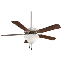 Contractor Uni-Pack 52 inch Brushed Steel with Dark Walnut Blades Ceiling Fan in Etched Swirl Glass