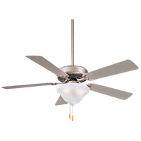 Contractor 52 inch Brushed Steel with Silver Blades Ceiling Fan in Etched Swirl Glass